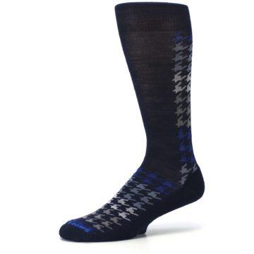 Image of Navy Blue Houndstooth Wool Men's Casual Socks (side-2-10)