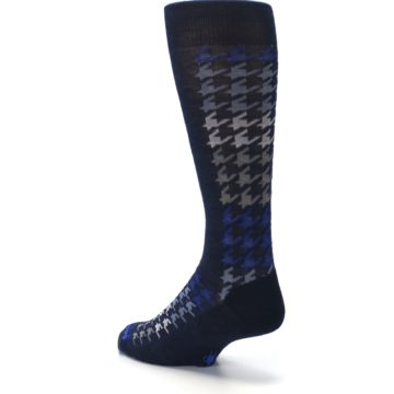 Image of Navy Blue Houndstooth Wool Men's Casual Socks (side-2-back-15)