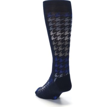 Image of Navy Blue Houndstooth Wool Men's Casual Socks (side-2-back-16)