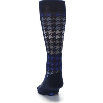 Image of Navy Blue Houndstooth Wool Men's Casual Socks (back-17)