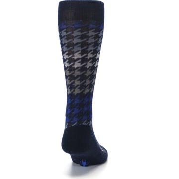 Image of Navy Blue Houndstooth Wool Men's Casual Socks (back-19)