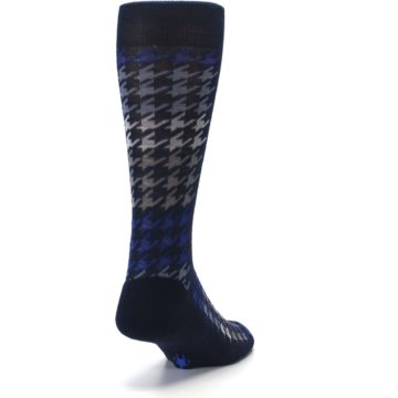 Image of Navy Blue Houndstooth Wool Men's Casual Socks (side-1-back-20)