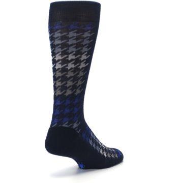 Image of Navy Blue Houndstooth Wool Men's Casual Socks (side-1-back-21)