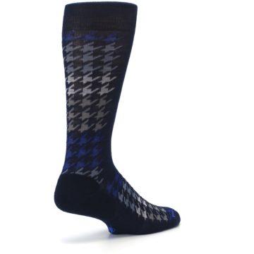Image of Navy Blue Houndstooth Wool Men's Casual Socks (side-1-back-22)