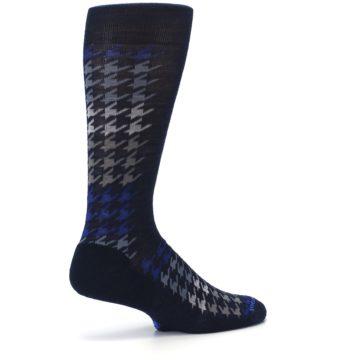 Image of Navy Blue Houndstooth Wool Men's Casual Socks (side-1-23)