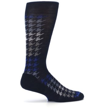 Image of Navy Blue Houndstooth Wool Men's Casual Socks (side-1-24)