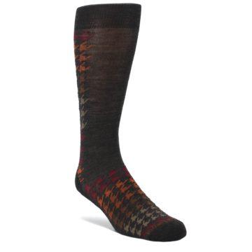 Brown-Orange-Houndstooth-Wool-Mens-Casual-Socks-Smartwool