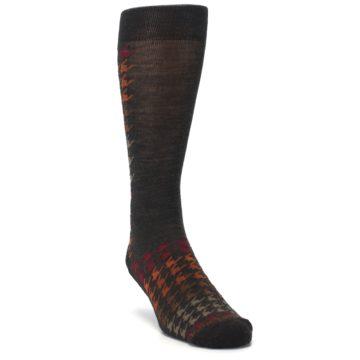 Image of Brown Orange Houndstooth Wool Men's Casual Socks (side-1-front-02)