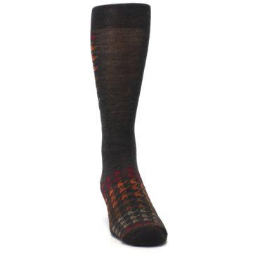Image of Brown Orange Houndstooth Wool Men's Casual Socks (side-1-front-03)