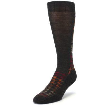 Image of Brown Orange Houndstooth Wool Men's Casual Socks (side-2-front-07)