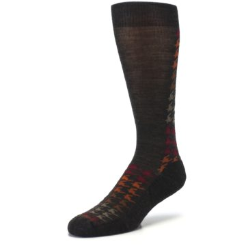 Image of Brown Orange Houndstooth Wool Men's Casual Socks (side-2-front-08)