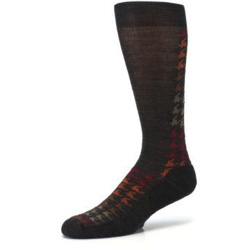 Image of Brown Orange Houndstooth Wool Men's Casual Socks (side-2-09)