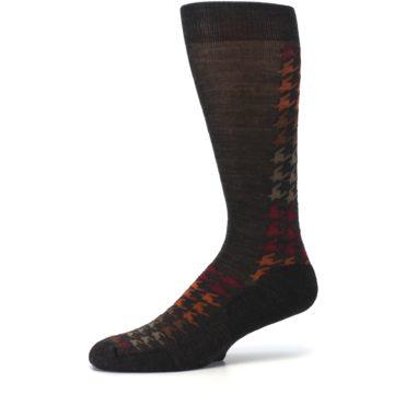 Image of Brown Orange Houndstooth Wool Men's Casual Socks (side-2-10)