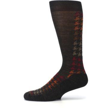 Image of Brown Orange Houndstooth Wool Men's Casual Socks (side-2-11)