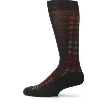 Image of Brown Orange Houndstooth Wool Men's Casual Socks (side-2-12)