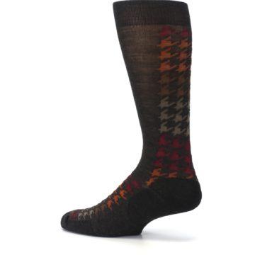 Image of Brown Orange Houndstooth Wool Men's Casual Socks (side-2-13)
