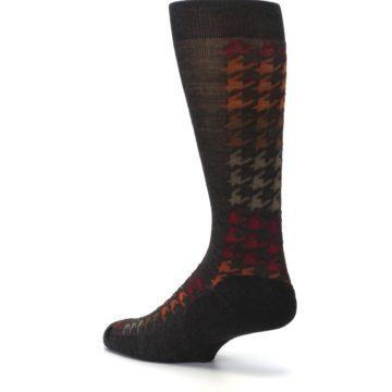 Image of Brown Orange Houndstooth Wool Men's Casual Socks (side-2-back-14)