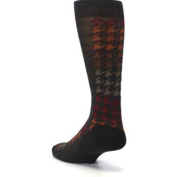 Image of Brown Orange Houndstooth Wool Men's Casual Socks (side-2-back-15)