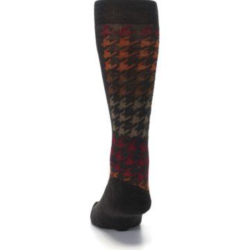 Image of Brown Orange Houndstooth Wool Men's Casual Socks (back-17)