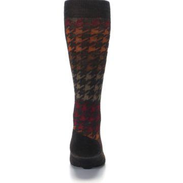Image of Brown Orange Houndstooth Wool Men's Casual Socks (back-18)