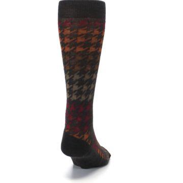 Image of Brown Orange Houndstooth Wool Men's Casual Socks (back-19)