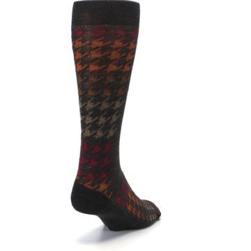 Image of Brown Orange Houndstooth Wool Men's Casual Socks (side-1-back-20)