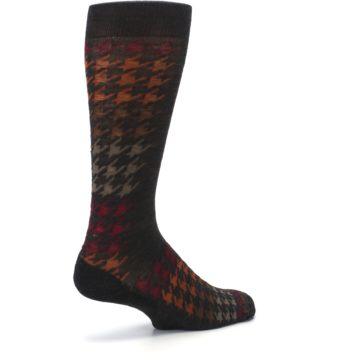 Image of Brown Orange Houndstooth Wool Men's Casual Socks (side-1-back-22)