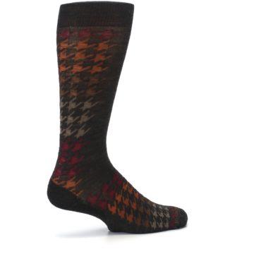 Image of Brown Orange Houndstooth Wool Men's Casual Socks (side-1-23)