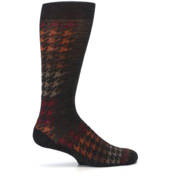 Image of Brown Orange Houndstooth Wool Men's Casual Socks (side-1-24)