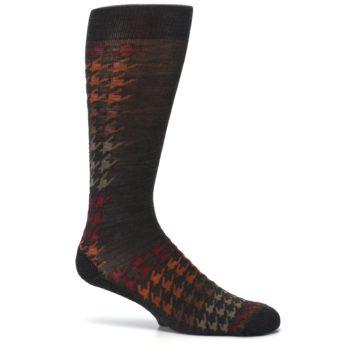 Image of Brown Orange Houndstooth Wool Men's Casual Socks (side-1-25)