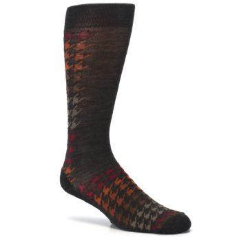 Image of Brown Orange Houndstooth Wool Men's Casual Socks (side-1-26)