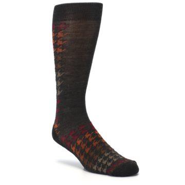 Image of Brown Orange Houndstooth Wool Men's Casual Socks (side-1-27)