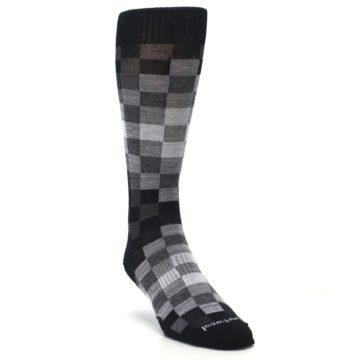 Image of Black Gray Digi Checkered Wool Men's Casual Socks (side-1-front-02)