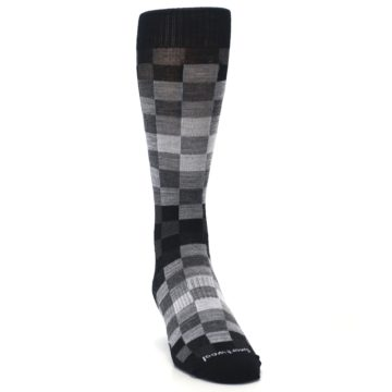 Image of Black Gray Digi Checkered Wool Men's Casual Socks (side-1-front-03)