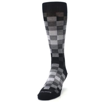 Image of Black Gray Digi Checkered Wool Men's Casual Socks (side-2-front-06)