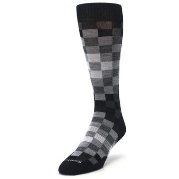 Image of Black Gray Digi Checkered Wool Men's Casual Socks (side-2-front-07)