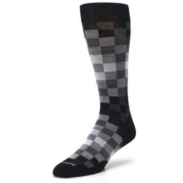 Image of Black Gray Digi Checkered Wool Men's Casual Socks (side-2-front-08)
