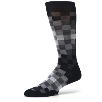 Image of Black Gray Digi Checkered Wool Men's Casual Socks (side-2-10)