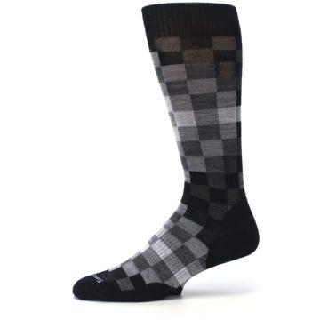 Image of Black Gray Digi Checkered Wool Men's Casual Socks (side-2-11)