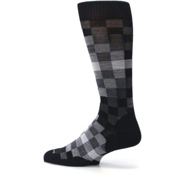 Image of Black Gray Digi Checkered Wool Men's Casual Socks (side-2-13)
