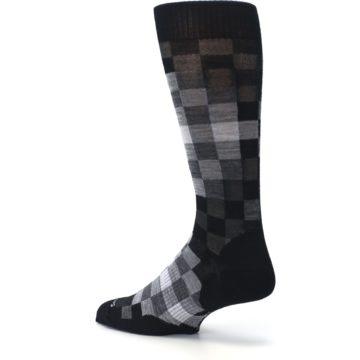 Image of Black Gray Digi Checkered Wool Men's Casual Socks (side-2-back-14)