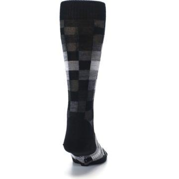 Image of Black Gray Digi Checkered Wool Men's Casual Socks (back-19)