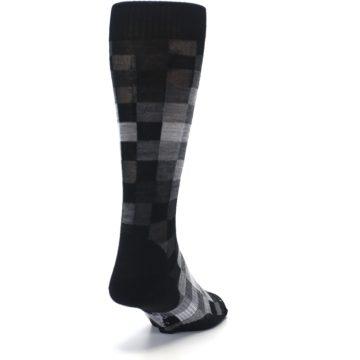 Image of Black Gray Digi Checkered Wool Men's Casual Socks (side-1-back-20)