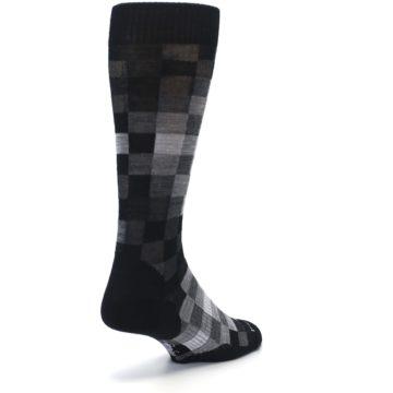 Image of Black Gray Digi Checkered Wool Men's Casual Socks (side-1-back-21)