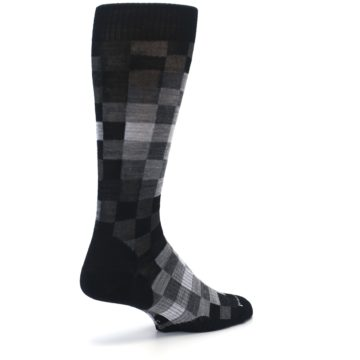 Image of Black Gray Digi Checkered Wool Men's Casual Socks (side-1-back-22)