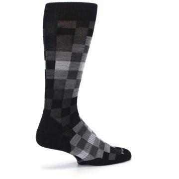 Image of Black Gray Digi Checkered Wool Men's Casual Socks (side-1-23)