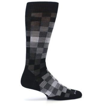 Image of Black Gray Digi Checkered Wool Men's Casual Socks (side-1-24)