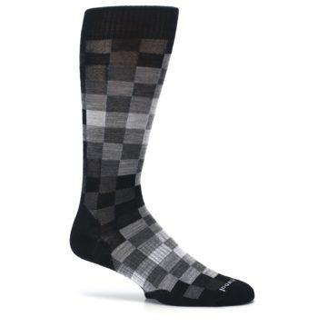 Image of Black Gray Digi Checkered Wool Men's Casual Socks (side-1-25)