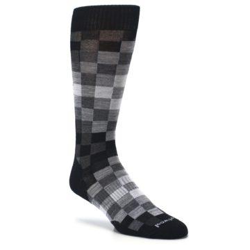 Image of Black Gray Digi Checkered Wool Men's Casual Socks (side-1-27)