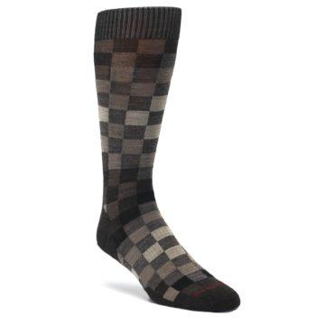 Chestnut-Gray-Digi-Checkered-Wool-Mens-Casual-Socks-Smartwool